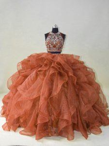 Artistic Beading and Ruffles Quince Ball Gowns Brown Backless Sleeveless Brush Train