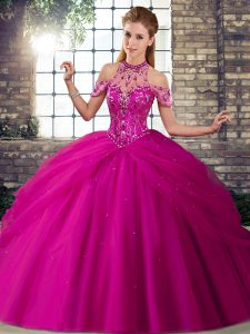 Fuchsia Quinceanera Dresses Halter Top Sleeveless Brush Train Lace Up