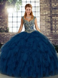 Blue Organza Lace Up Straps Sleeveless Floor Length Quince Ball Gowns Beading and Ruffles