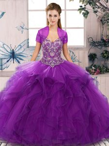 Most Popular Sleeveless Tulle Floor Length Lace Up Quince Ball Gowns in Purple with Beading and Ruffles