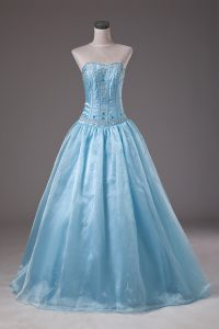 Cute Strapless Sleeveless Organza Ball Gown Prom Dress Beading Lace Up