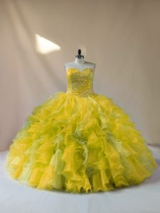 Multi-color Organza Lace Up Ball Gown Prom Dress Sleeveless Floor Length Beading and Ruffles