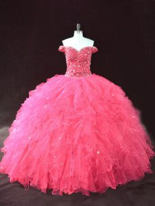 Floor Length Hot Pink Quinceanera Dresses Off The Shoulder Sleeveless Lace Up