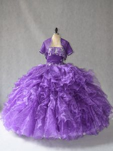 Wonderful Purple 15 Quinceanera Dress Sweet 16 and Quinceanera with Beading and Ruffles Strapless Sleeveless Lace Up