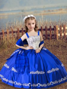 Graceful Floor Length Royal Blue Pageant Dress Toddler Satin Sleeveless Beading and Embroidery