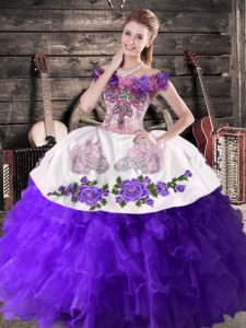 Spectacular Ball Gowns Quince Ball Gowns Purple Off The Shoulder Organza Sleeveless Floor Length Lace Up