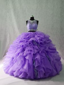 Custom Fit Lavender Sleeveless Floor Length Beading and Ruffles Zipper Sweet 16 Quinceanera Dress