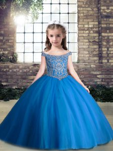 Tulle V-neck Sleeveless Lace Up Beading Pageant Dress Toddler in Blue