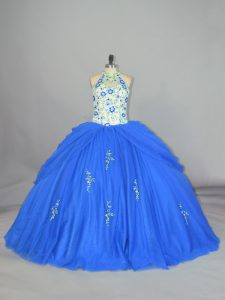 New Style Floor Length Ball Gowns Sleeveless Blue Sweet 16 Dress Lace Up