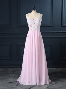 Custom Design Cap Sleeves Floor Length Beading and Lace Backless Dress for Prom with Baby Pink
