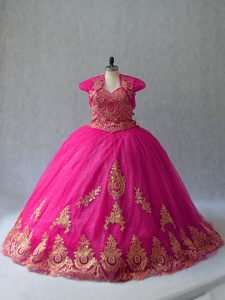 Latest Hot Pink Ball Gowns Tulle Sweetheart Sleeveless Appliques Lace Up Sweet 16 Dresses Court Train