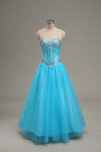 Sweetheart Sleeveless Tulle Evening Gowns Beading Lace Up