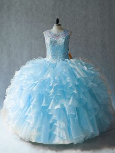 Customized Scoop Sleeveless Lace Up 15th Birthday Dress Blue Organza