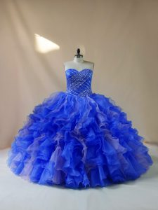 Elegant Royal Blue Lace Up Sweetheart Beading and Ruffles Quinceanera Dress Organza Sleeveless