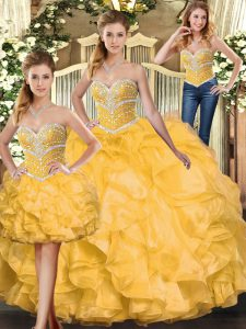 Pretty Organza Sleeveless Floor Length Quinceanera Gown and Beading and Ruffles