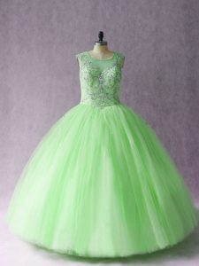 Great Sleeveless Beading Lace Up Ball Gown Prom Dress
