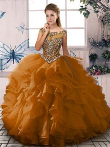 Ball Gowns Ball Gown Prom Dress Brown Scoop Organza Sleeveless Floor Length Lace Up