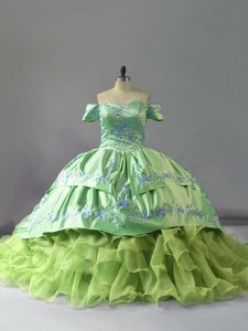 Dazzling Yellow Green Ball Gowns Embroidery and Ruffles 15 Quinceanera Dress Lace Up Organza Sleeveless