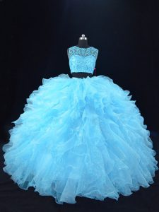 Aqua Blue Zipper 15 Quinceanera Dress Beading and Ruffles Sleeveless Floor Length
