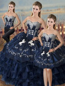 Latest Navy Blue Three Pieces Embroidery and Ruffles Quinceanera Dress Lace Up Organza Sleeveless Floor Length
