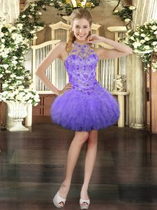 Hot Selling Ball Gowns Prom Party Dress Lavender Halter Top Tulle Sleeveless Mini Length Lace Up