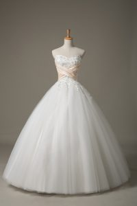 Fitting Sweetheart Sleeveless Tulle Wedding Dress Beading and Lace Lace Up