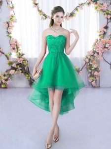 High Low Lace Up Wedding Guest Dresses Turquoise for Wedding Party with Lace
