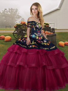 Fuchsia Quinceanera Gowns Military Ball and Sweet 16 and Quinceanera with Embroidery and Ruffled Layers Off The Shoulder Sleeveless Brush Train Lace Up