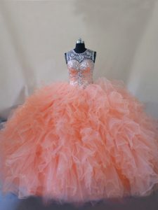 Dazzling Peach Ball Gowns Tulle Scoop Sleeveless Beading and Ruffles Lace Up Quinceanera Gowns Court Train