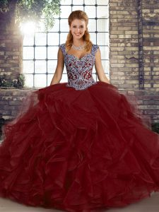 Graceful Wine Red Sweet 16 Dresses Military Ball and Sweet 16 and Quinceanera with Beading and Ruffles Straps Sleeveless Lace Up