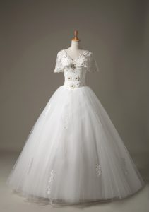 Custom Fit White Lace Up V-neck Beading and Appliques Wedding Dress Tulle Short Sleeves