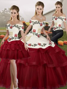 Wine Red Sleeveless Tulle Brush Train Lace Up Quinceanera Dresses for Military Ball and Sweet 16 and Quinceanera
