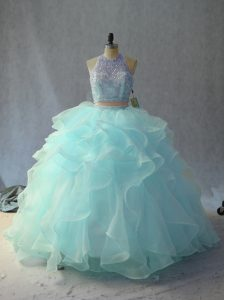 Lovely Sleeveless Floor Length Backless Quince Ball Gowns in Light Blue with Beading and Ruffles