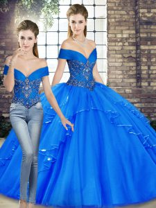 Royal Blue Quinceanera Gown Military Ball and Sweet 16 and Quinceanera with Beading and Ruffles Off The Shoulder Sleeveless Lace Up