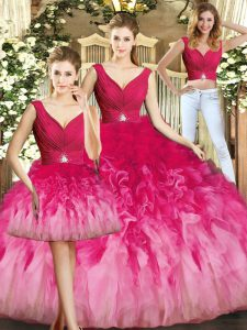 Floor Length Ball Gowns Sleeveless Multi-color Sweet 16 Dress Lace Up