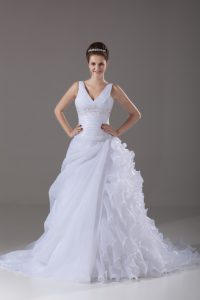 Organza V-neck Sleeveless Brush Train Lace Up Beading and Ruffles Wedding Gown in White