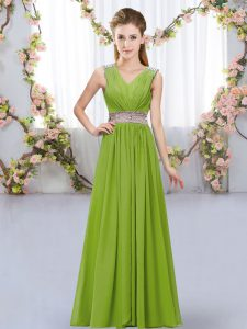 V-neck Sleeveless Lace Up Court Dresses for Sweet 16 Olive Green Chiffon