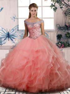 Watermelon Red Ball Gowns Beading Quinceanera Gown Lace Up Tulle Sleeveless Floor Length