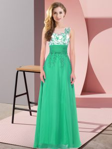 Stunning Turquoise Chiffon Backless Scoop Sleeveless Floor Length Vestidos de Damas Appliques