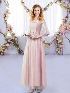 Excellent Pink Empire Tulle Off The Shoulder Half Sleeves Lace and Belt Floor Length Side Zipper Quinceanera Dama Dress