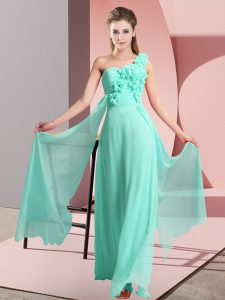 Discount Apple Green Lace Up Bridesmaid Dresses Hand Made Flower Sleeveless Floor Length