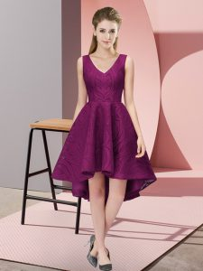 Lace V-neck Sleeveless Zipper Lace Quinceanera Court Dresses in Dark Purple
