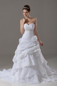 White A-line Sweetheart Sleeveless Taffeta Brush Train Lace Up Beading and Pick Ups and Hand Made Flower Wedding Dress