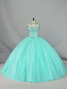 Designer Apple Green Sweet 16 Dresses Tulle Brush Train Sleeveless Beading
