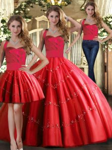 Hot Sale Red Tulle Lace Up Sweet 16 Dress Sleeveless Floor Length Appliques