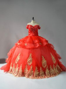 Unique Red Sleeveless Organza Court Train Lace Up Sweet 16 Quinceanera Dress for Sweet 16 and Quinceanera