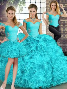 Aqua Blue 15 Quinceanera Dress Military Ball and Sweet 16 and Quinceanera with Beading and Ruffles Off The Shoulder Sleeveless Lace Up