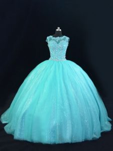 Aqua Blue Ball Gowns Tulle Scoop Sleeveless Beading and Lace Floor Length Lace Up Ball Gown Prom Dress