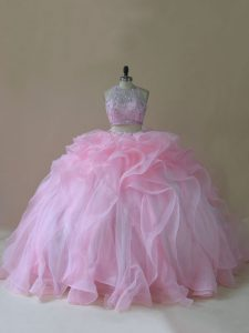 Luxury Lace Up Sweet 16 Quinceanera Dress Baby Pink for Sweet 16 and Quinceanera with Ruffles Brush Train