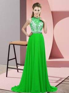 Green Sleeveless Chiffon Brush Train Backless Homecoming Dress for Prom and Party